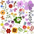 Big collection flowers and butterflies — Vector de stock