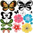 Royalty-Free Stock Imagen vectorial: New set butterflies and flowers