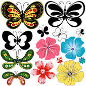 New set butterflies and flowers — Stock Vector