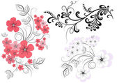 Set branches with flowers — Stock Vector