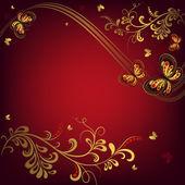 Cornice floreale rossa decorativa — Vettoriale Stock