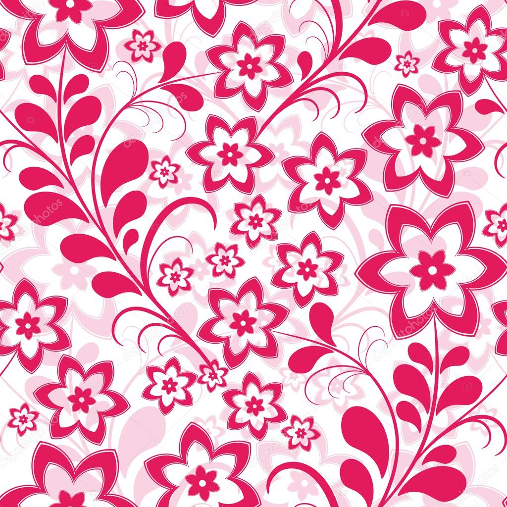 Seamless pink floral pattern - photo#9