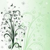 Green floral frame (vector) — Stockvektor