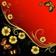 Decorative floral frame — Image vectorielle