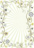 Bílé a zlaté květinový rámeček — Stock vektor