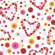 Seamless floral valentine pattern — Stock Vector
