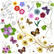 Big set flowers and butterflies — Vector de stock