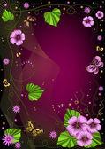 装饰暗紫花卉帧 — 图库矢量图片