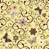 无缝黄色花纹 — 图库矢量图片