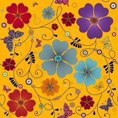 Seamless yellow floral pattern — Wektor stockowy
