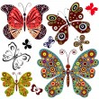 conjunto abstractas mariposas — Vector de stock  #3450809