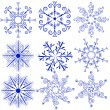 Stock Vector: Set blue snowflakes