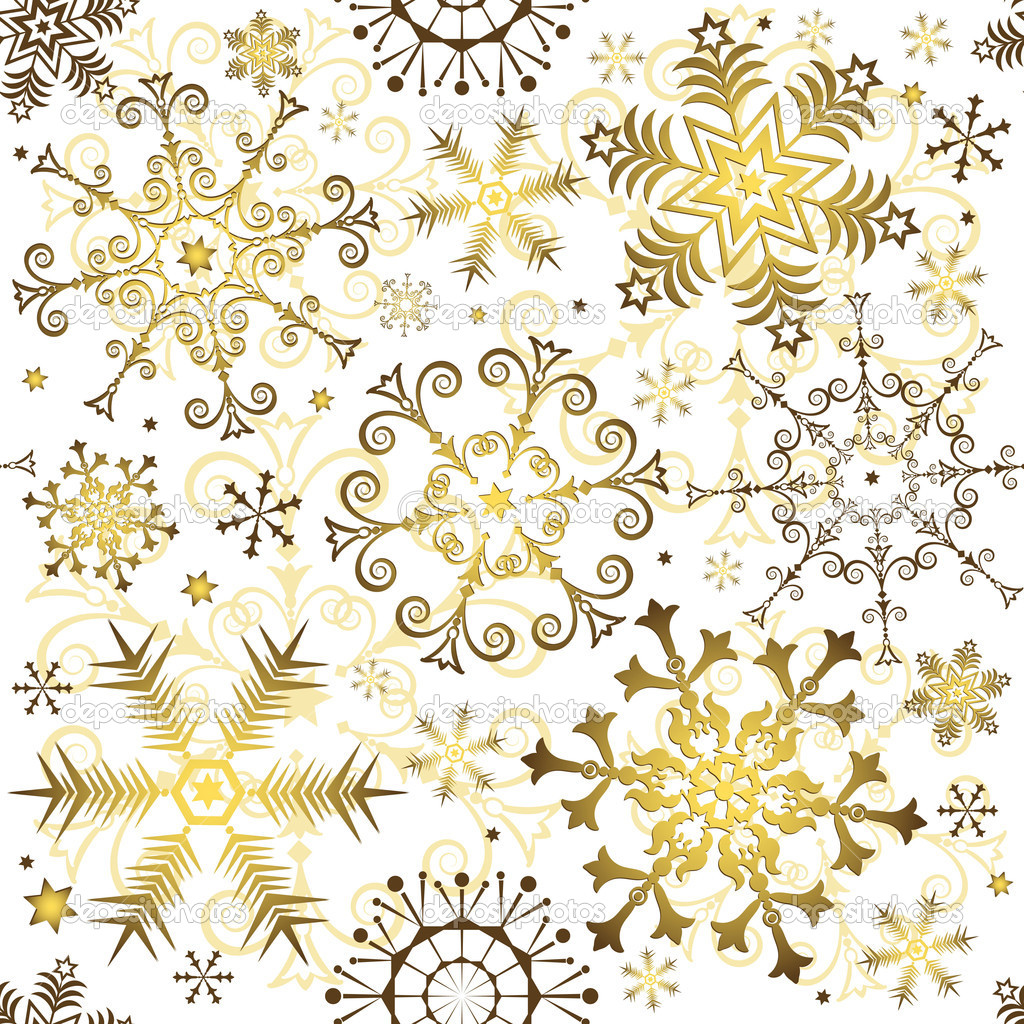 Seamless white christmas pattern with golden snowflakes (vector) — Imagen vectorial #3529661