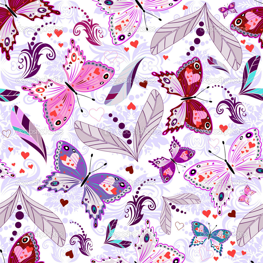 White seamless floral valentine pattern with hearts and butterflies (vector) — Stock Vector #3568196