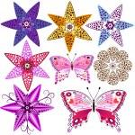 Set flowers and butterflies — Stock Vector