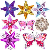 Květiny a motýli — Stock vektor