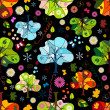 Seamless floral dark pattern - Stock Vector
