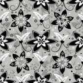 White, grey and black seamless floral pattern — Stock Vector