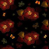 无缝黑色花图案 — 图库矢量图片