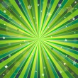 Abstract green and yellow background with rays — Vector de stock