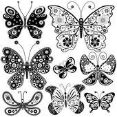 Sammlung, die schwarzen und weißen schmetterlinge — Stockvektor