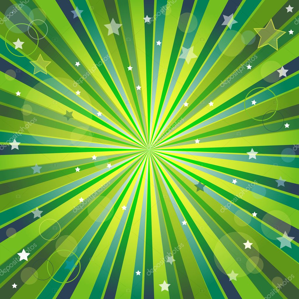 Abstract green and yellow background with rays, stars and balls (vector,  eps10,) — Stock Vector #3785367