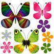 Royalty-Free Stock Vectorafbeeldingen: Set abstract butterflies and flowers