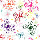 Patrón que se repite blanca con mariposas — Vector de stock