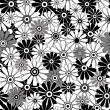 White-black repeating floral pattern — Stock Vector