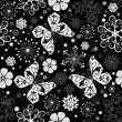 Seamless black-white christmas graphic pattern — Stock vektor