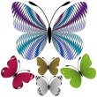 Set abstract mosaic butterflies — Vettoriali Stock