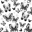 Repeating white pattern with butterflies - Stock Vector