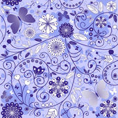 Seamless floral violet-blue pattern — Stock Vector