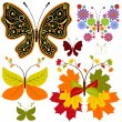 Set Mariposas flores abstractas — Vector de stock