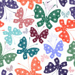 Seamless white floral pattern with butterflies — Stock Vector