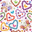 White seamless floral valentine pattern — Stock Vector