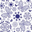 Seamless white-violet christmas wallpaper - Grafika wektorowa
