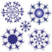 Set violet snowflakes — Stock Vector