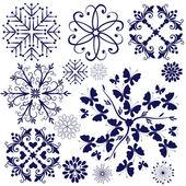 Kolekcja fioletowe płatki śniegu — Wektor stockowy