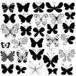 Big collection black butterflies — Stock Vector