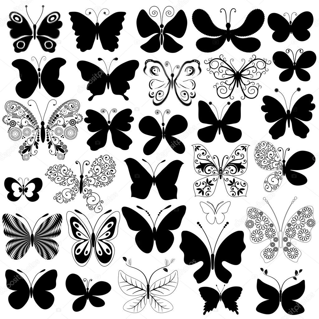Big collection silhouette black butterflies for design isolated on white (vector) — Stok Vektör #3871440