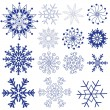 Set dark violet snowflakes — Stock Vector
