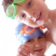 Happy friends with goggles — Stock Photo