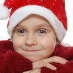 παιδί φορώντας κόκκινο santa — Φωτογραφία Αρχείου