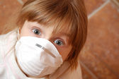 Child with medical mask — Stock Photo