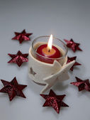 Holiday's still-life with candle — Stock Photo