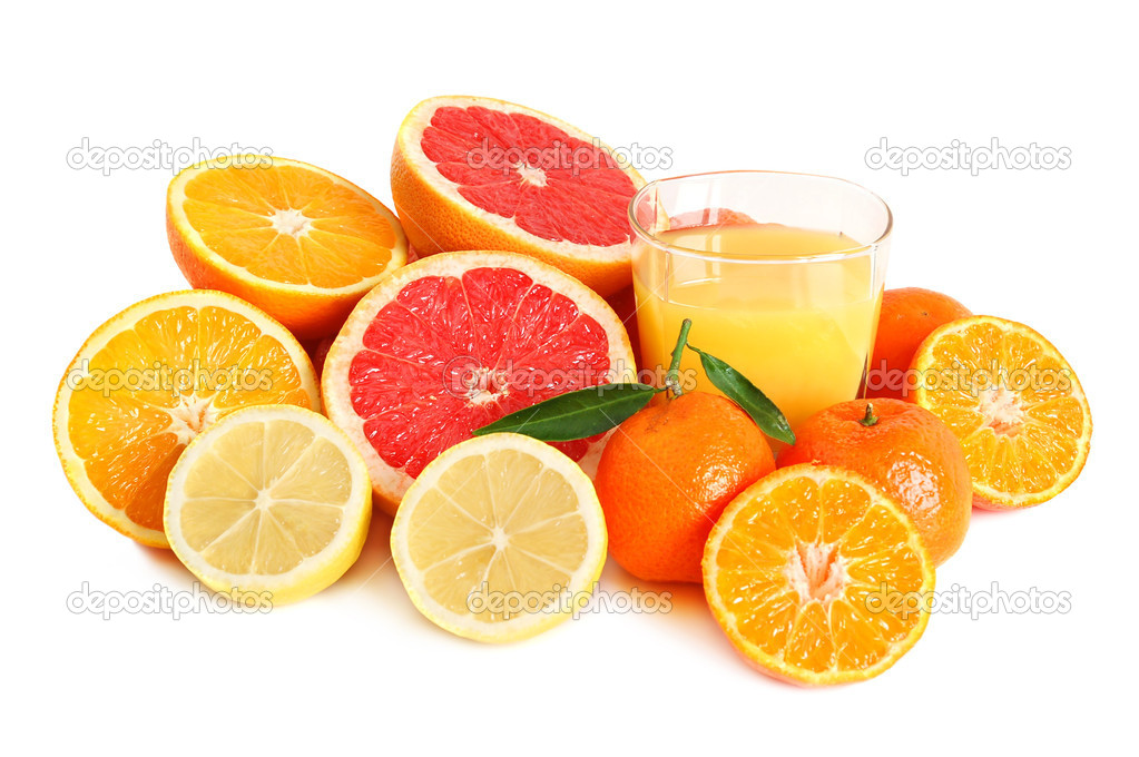 Sweet citrus juice in glass on white background — Stock Photo #2739855