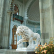 White marble lion - Stock Photo