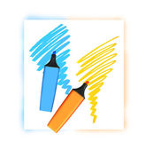 Two coloured markers — Stock Photo