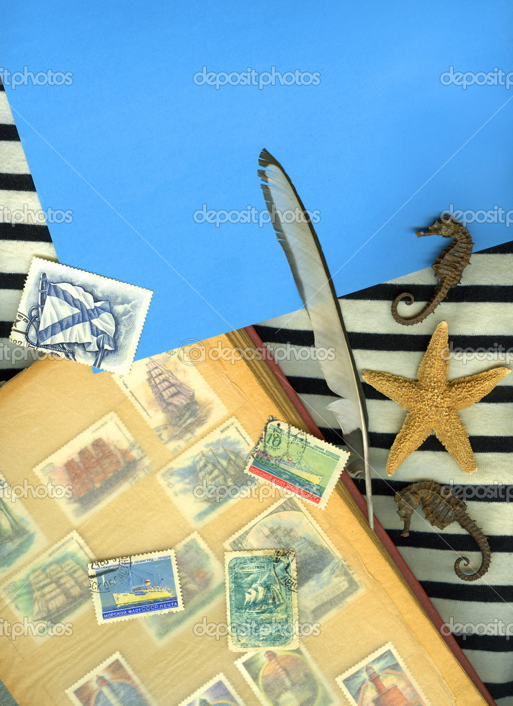 Vintage marine background with postage stamps — Stock Photo #2817128